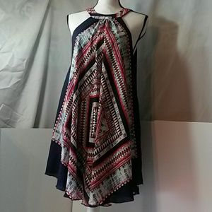 Sleeveless tribal design flowing dress XL